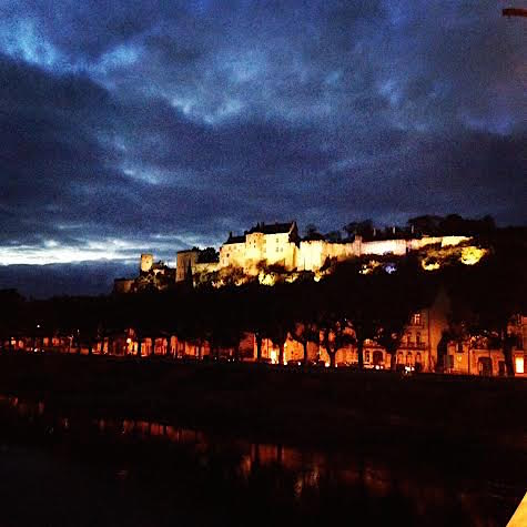 Chinon Fort at night
