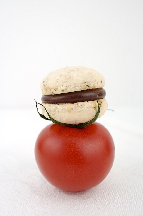Vegetable Macaron Chili Chocolate Ganache
