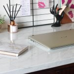How To Easily Transform An Old Desk With Marble Contact Paper Life S Ahmazing