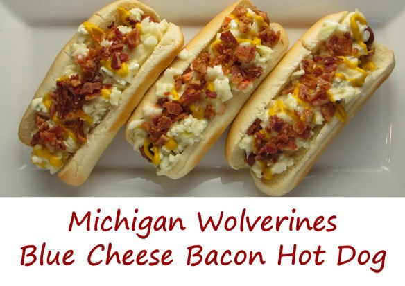 Michigan Wolverines Blue Cheese Bacon Hot Dog
