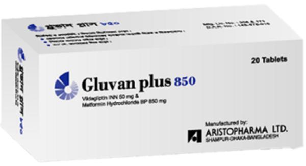 Gluvan Plus 50+850 mg Tablet (Aristopharma Ltd)