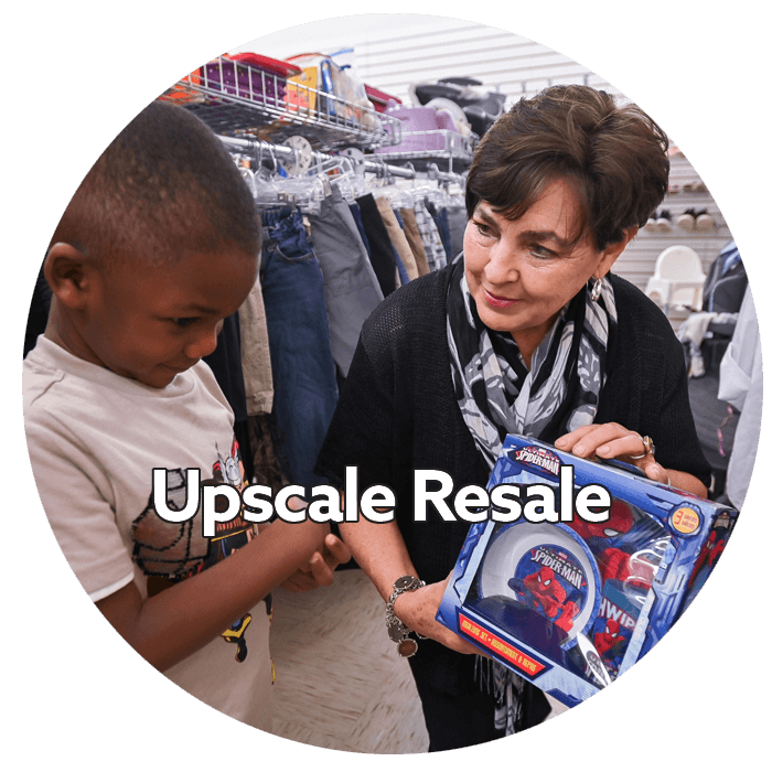 Upscale Resale image of manager with child