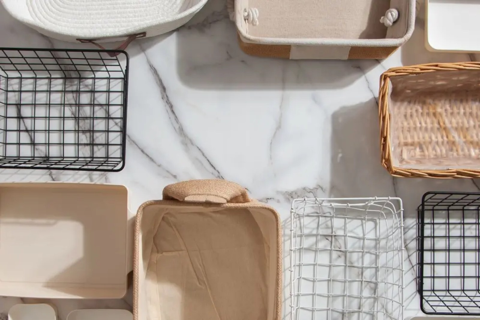 A variety of storage baskets and containers.