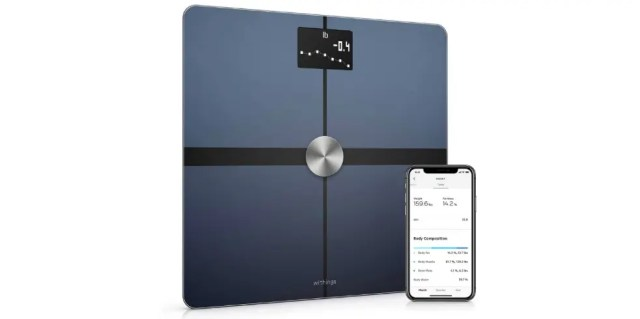 Withings Body + smart scale and its supporting application on the phone.