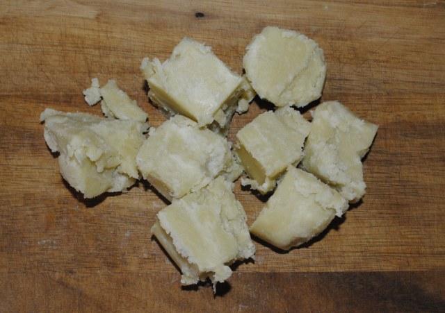 raw shea butter cut up