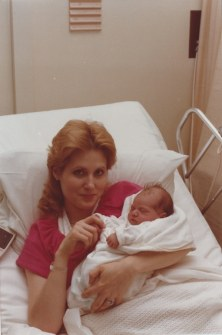 My mom and I when I was born