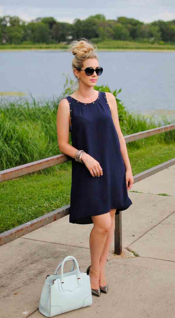 high/low navy dress