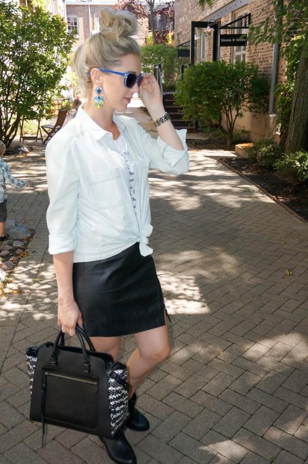 black leather skirt + denim shirt