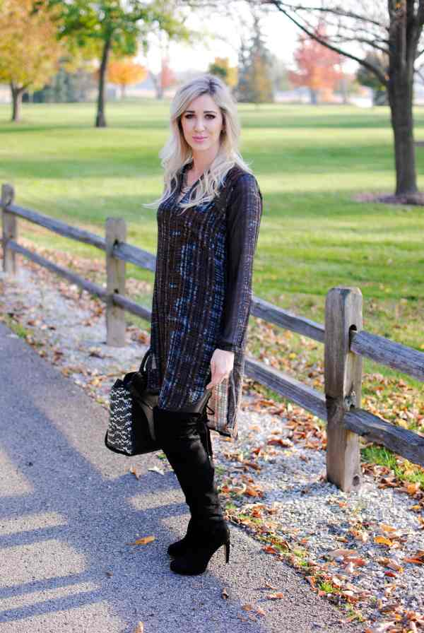 plaid side slit tunic