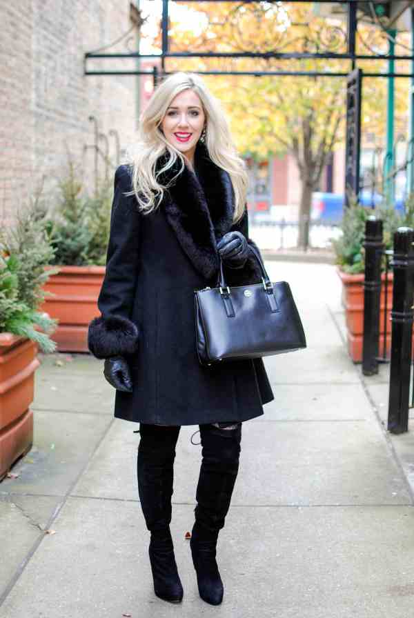 staying warm, black coat