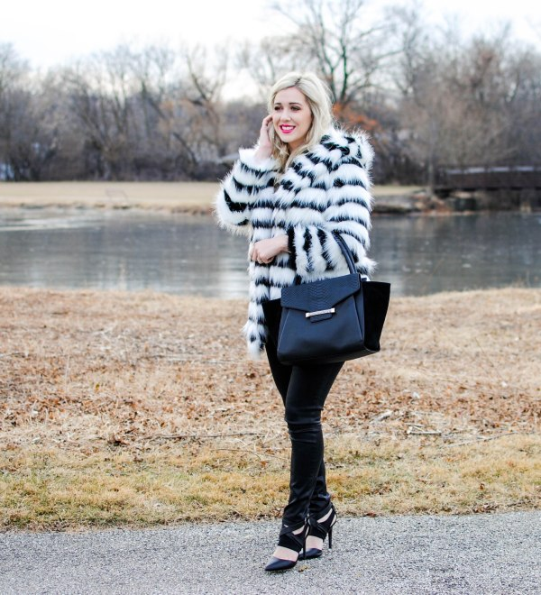 glamorous striped faux fur coat
