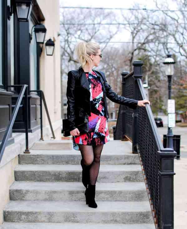 80's inspired shift dress, blanknyc faux leather vegan jacket