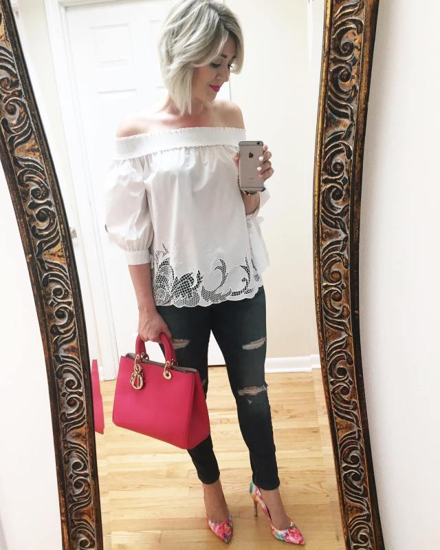 off the shoulder white top