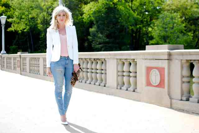 white blazer, distressed denim