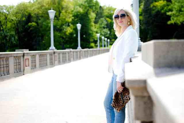 white blazer, distressed denim