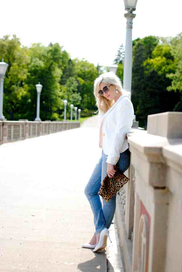 distressed denim, white blazer