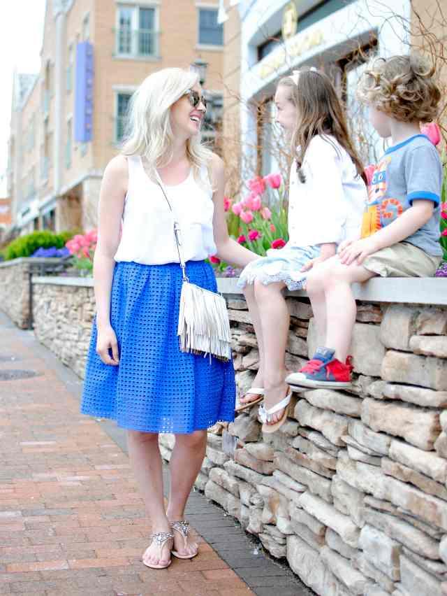 blue eyelet skirt