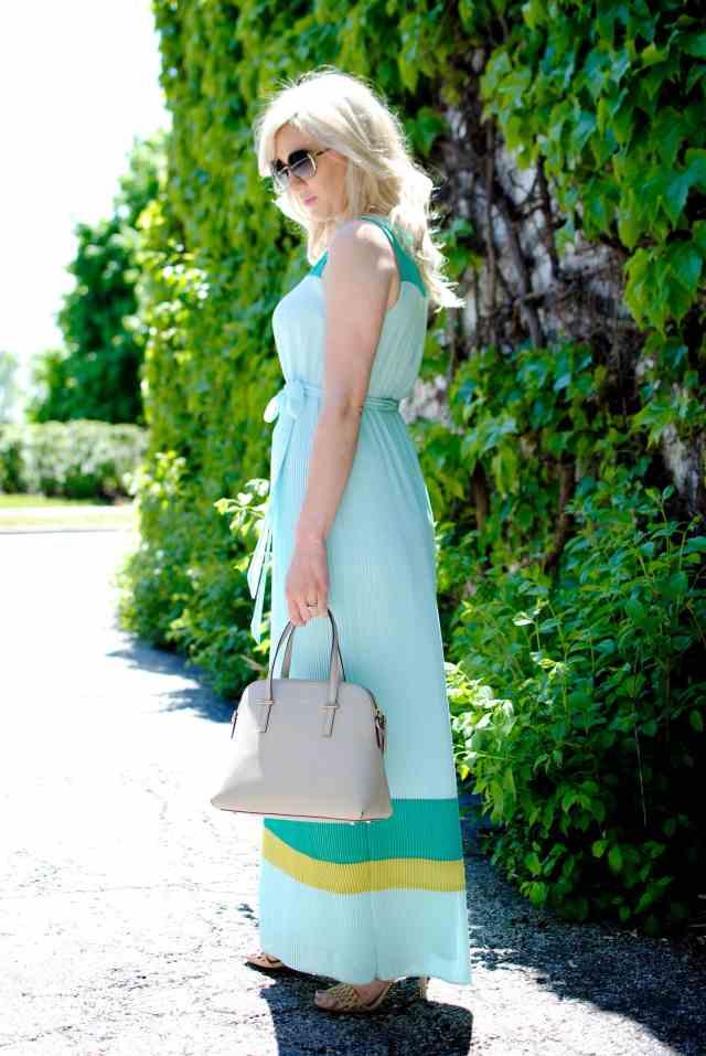 Darling 'Gracie' Stripe Georgette Tie Waist Maxi Dress