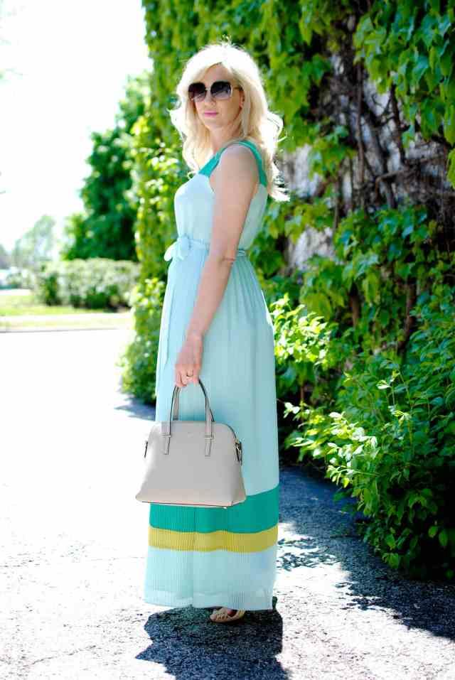 _DSC0707Darling 'Gracie' Stripe Georgette Tie Waist Maxi Dress