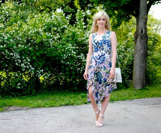 BCBG MAXAZRIA Ezra Mixed Print Midi Dress