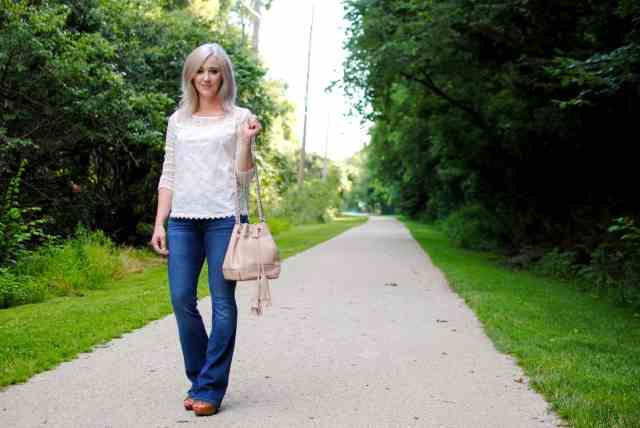 flare jeans, bucket bag, lace top