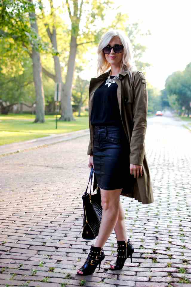 trench coat, pencil skirt