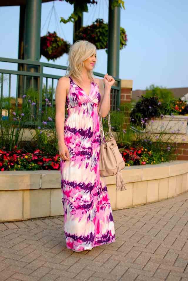 tie dye pink maxi dress