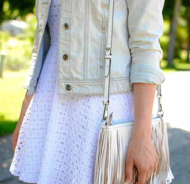 white eyelet dress & fringe