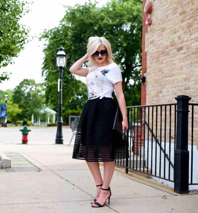 black midi skirt, graphic tee