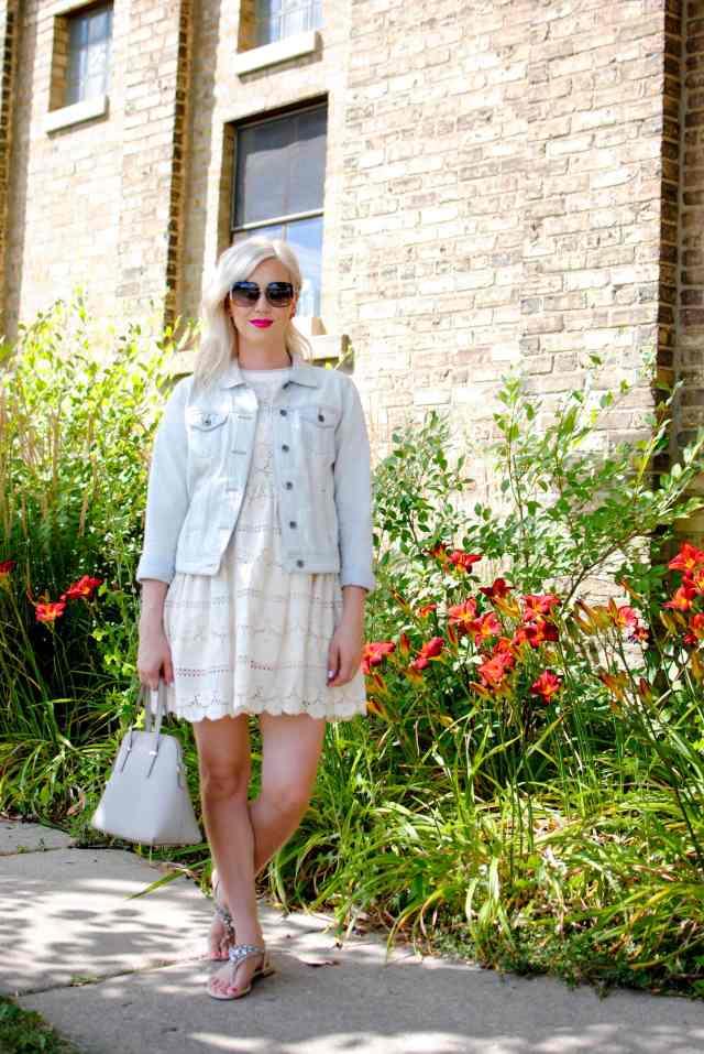 ivory lace dress, denim jacket
