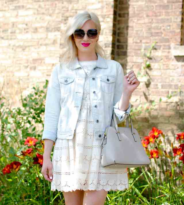 lace dress, denim jacket