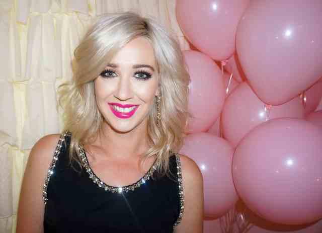 hot pink lipstick, pink balloons