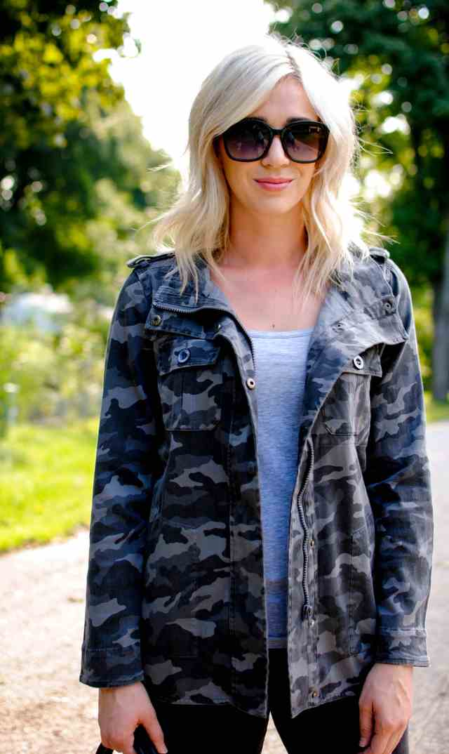 gap body tank, camo jacket