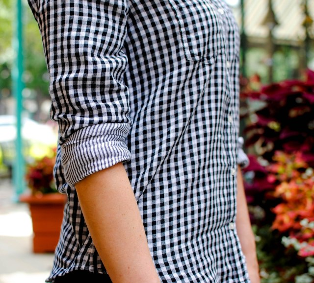 gingham shirt, stripe detail