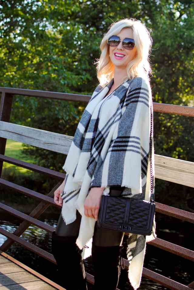 plaid poncho, rebecca mink love bag