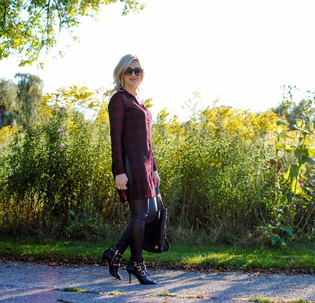 red plaid tunic, faux leather leggings