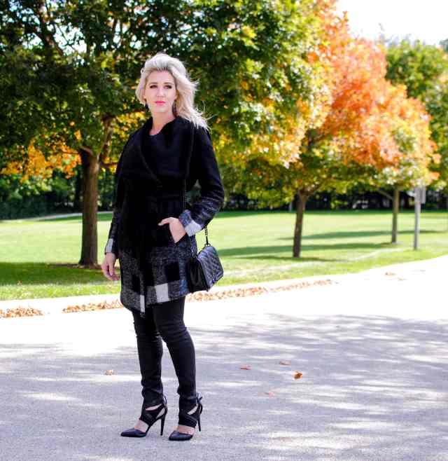 black plaid coat