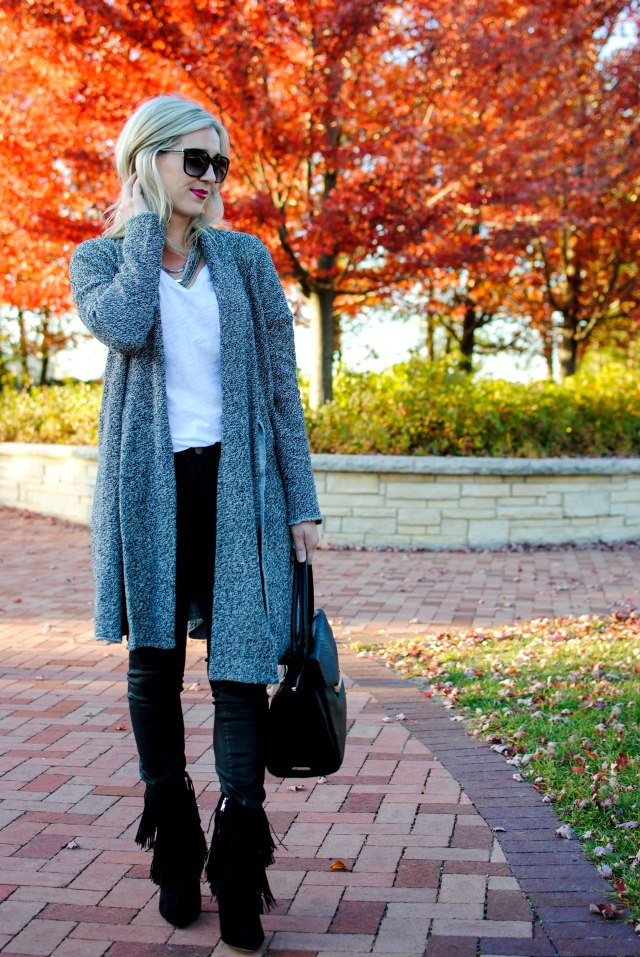 cozy fall sweater, finge boots
