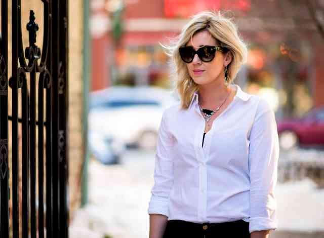 white collared shirt, prada sunglasses, alexis bittar jewlery