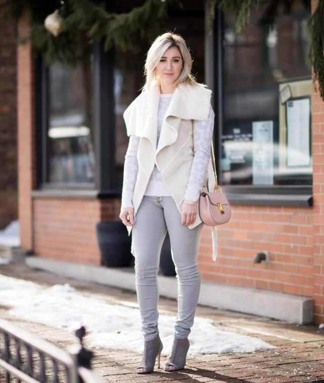 blank nyc trooper Faux Shearling Wrap Vest
