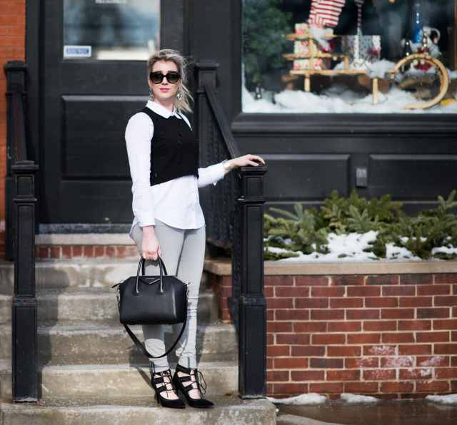 givenchy antigona black, frame grey denim, elizabeth and james vanna top, prada sunglasses, topshop pumps