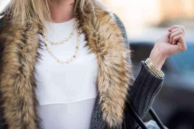 ted baker Gemari necklace, bcbg lynzi top, faux fur