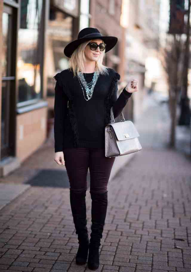 black sweater, floppy hat, over the knee boots