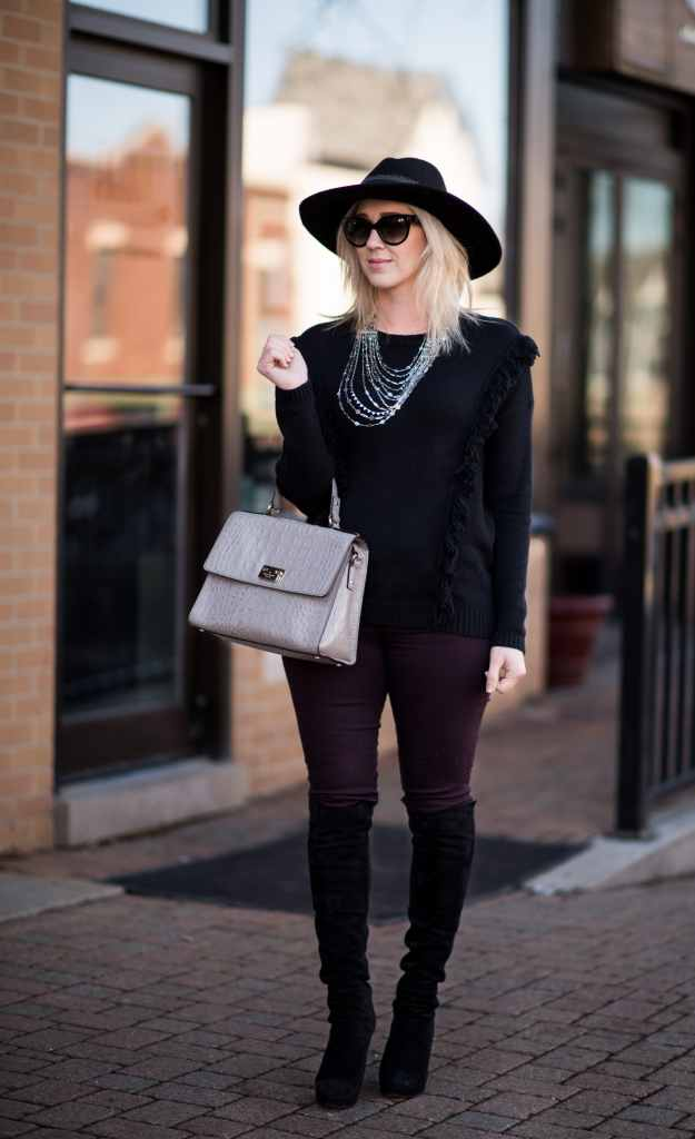 kate spade bag, trouve sweater, stuart weitzman over the knee boots, floppy hat