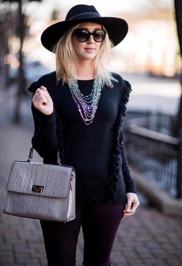 fringe sweater, floppy hat, kate spade bag