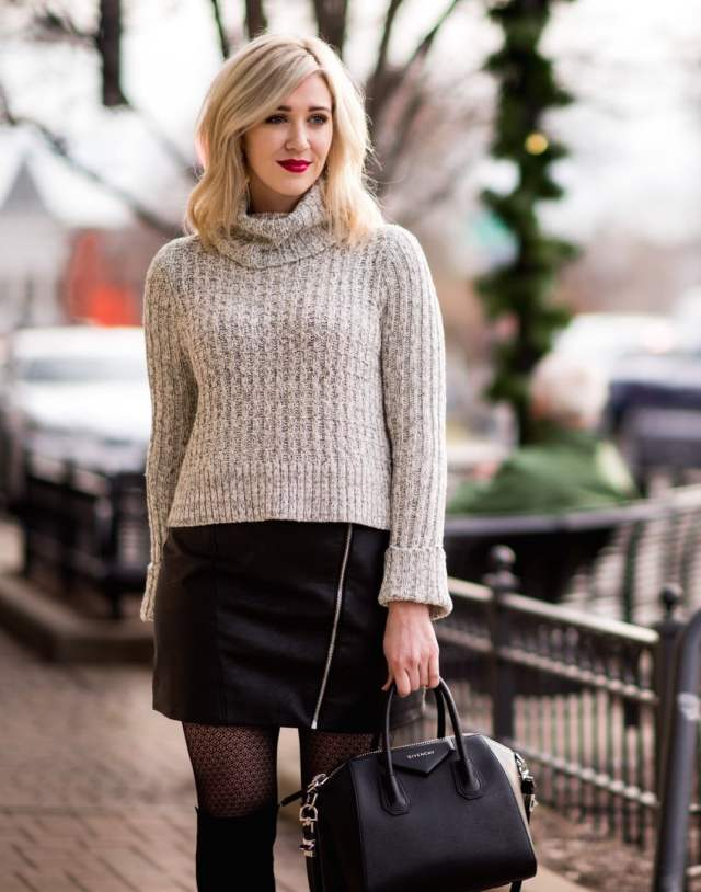 free people sweater, topshop mini skirt leather