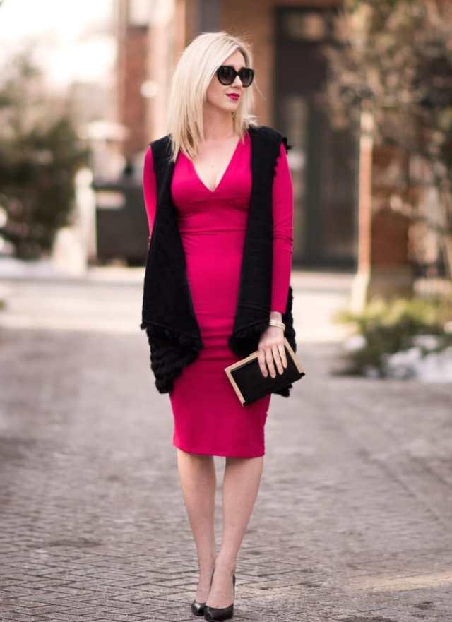 leith red v-neck dress