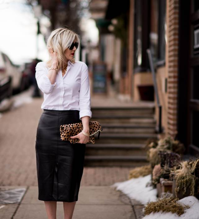 leather midi skirt, white collared shirt