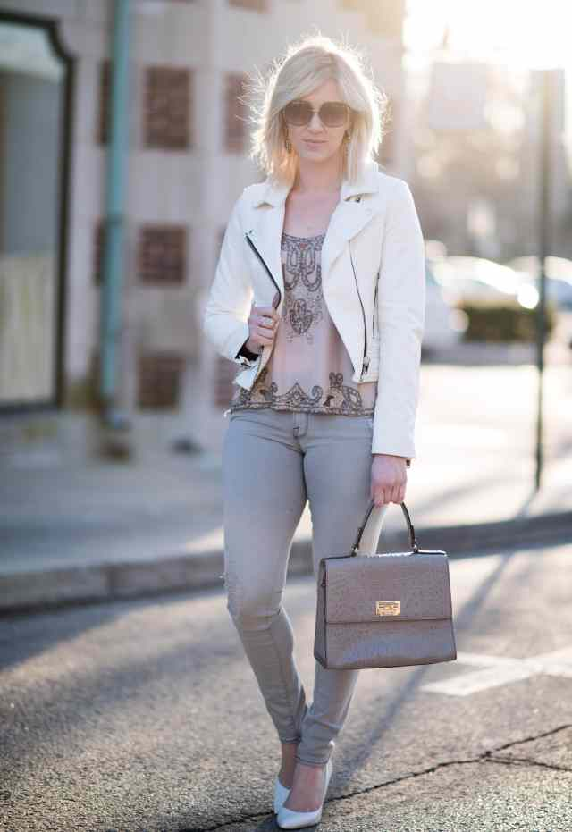 white faux leather jacket, embellished top