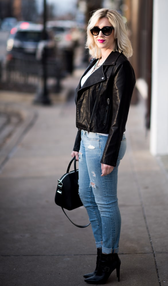 BlankNYC quilted leather jacket, ripped jeans, bcbg booties